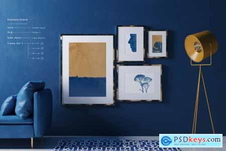 Classic Blue Interior Mockup - Customizable frames furniture