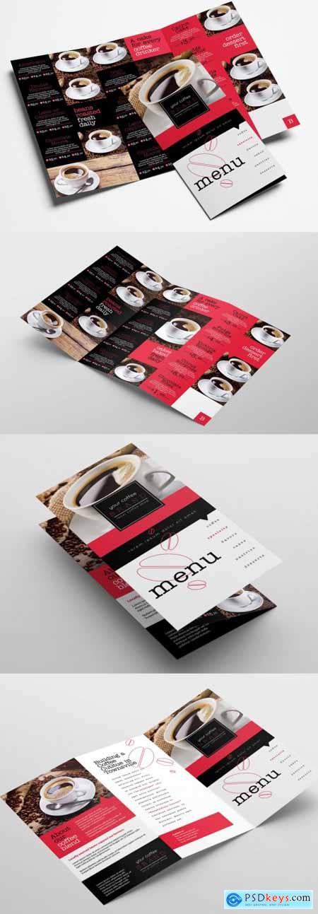 Trifold Cafe Menu Layout 338902278