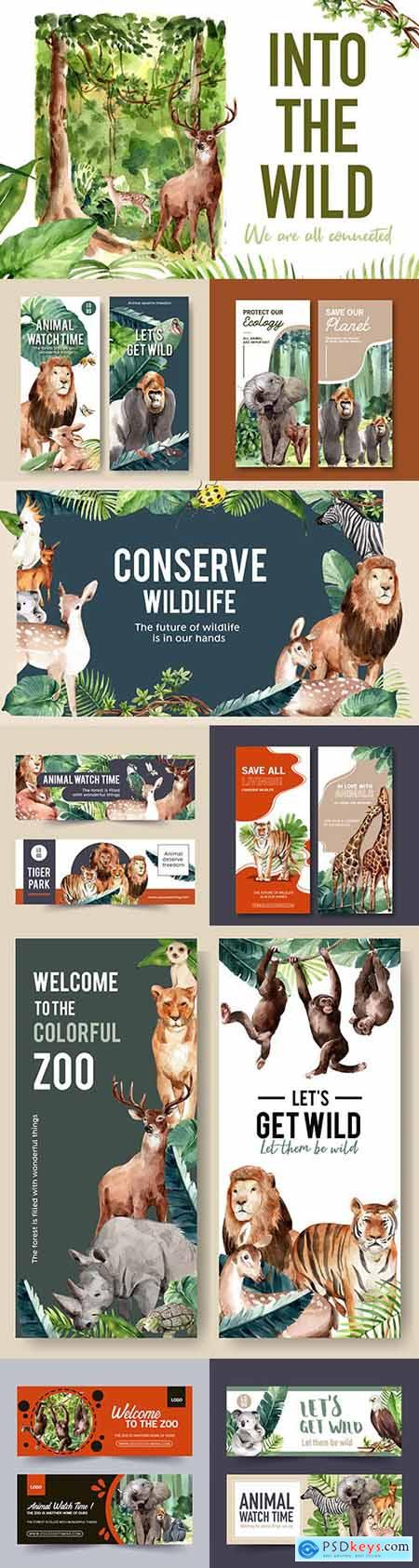 Zoo banner design with animal watercolor illustrations