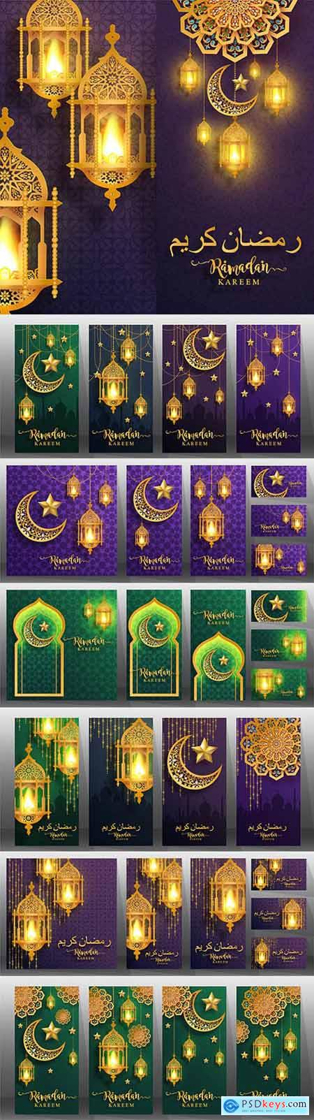 Ramadan Kareem decorative greeting banners design
