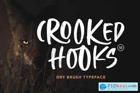 Crooked Hooks - Dry Brush Font