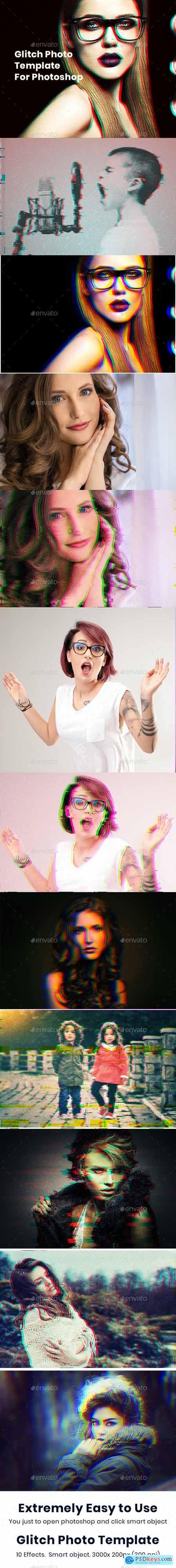 Glitch Photoshop Photo Template 25929671