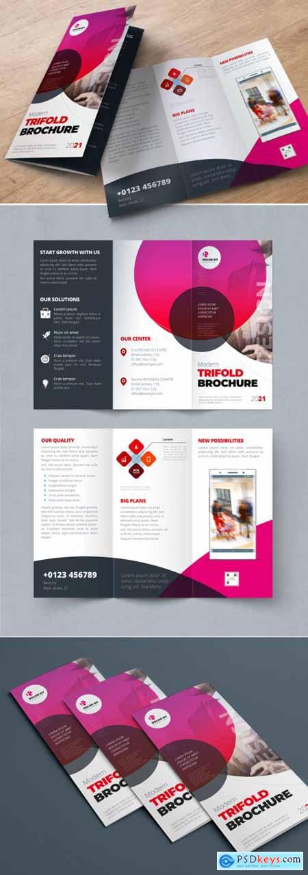 Red Pink Gradient Trifold Brochure Layout with Circles 338524538
