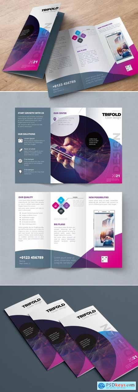 Purple Trifold Brochure Layout with Circles 338524549