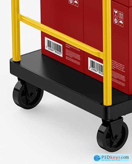 Warehouse Trolley With Boxes Mockup 58789