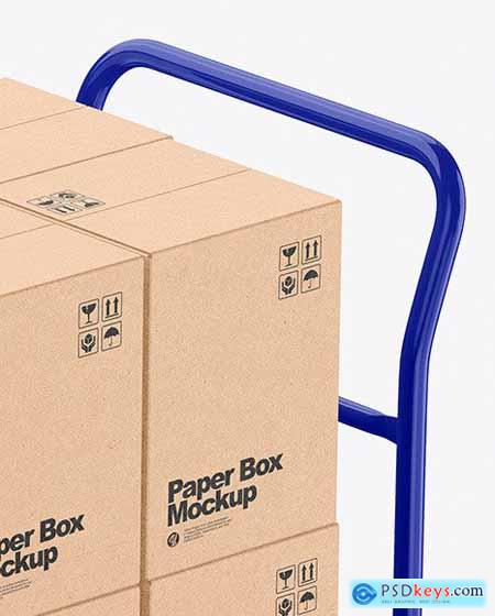 Warehouse Trolley With Kraft Boxes 58831