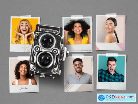 Blank Instant Photo Frame Mockup Set with Camera 328559344