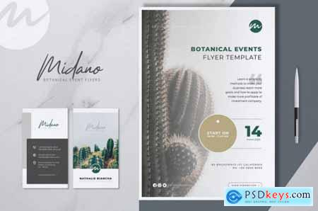 MIDANO Botanical Event Flyer & Business Card