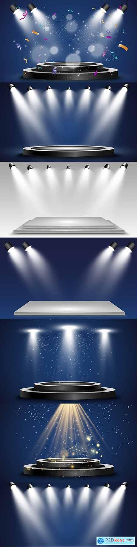 Podium and platform with illuminated lights illustration spotlight