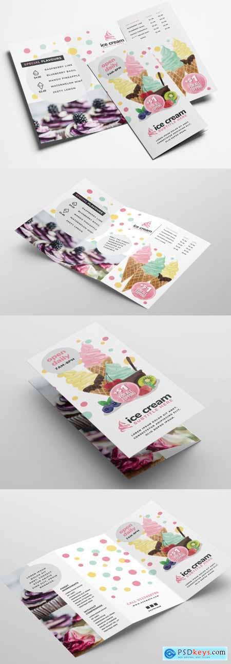 Ice Cream Dessert Shop Trifold Menu Layout 341481823