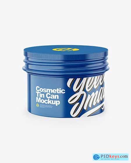 Glossy Cosmetic Tin Can Mockup 58139