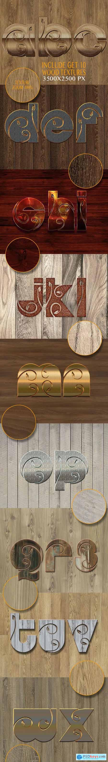 10 3D Text Styles Nature Wood V K7 26342197