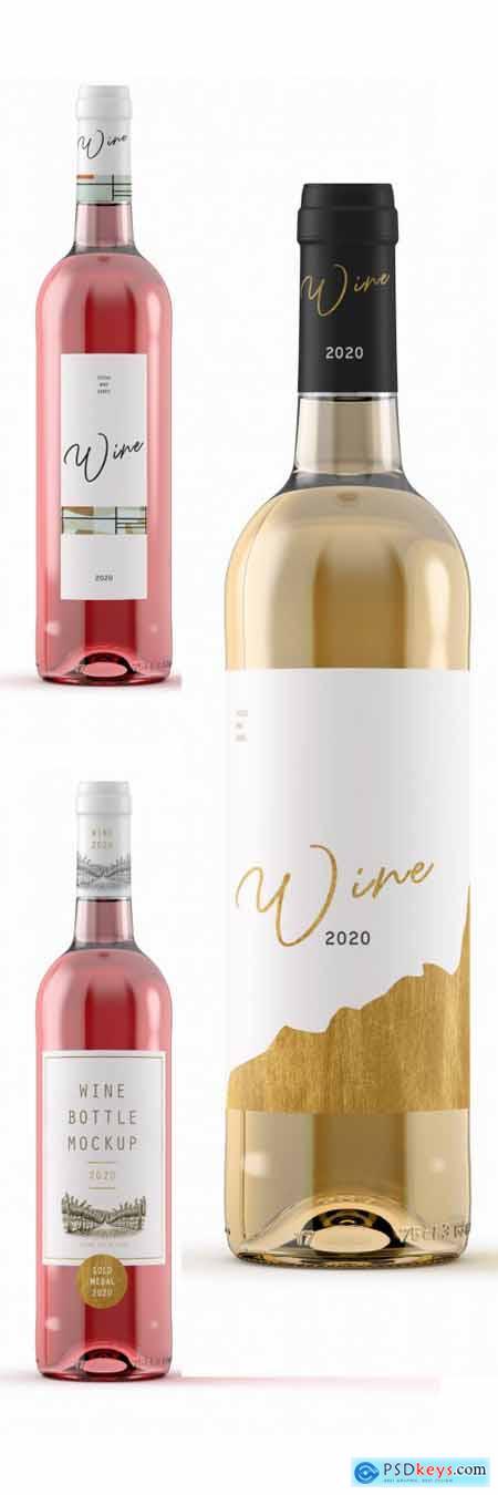 Rose or White Wine Bottle Mockup 341819759