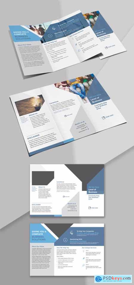 Trifold Brochure with Abstract Geometric with Blue Grey Accents 342128436