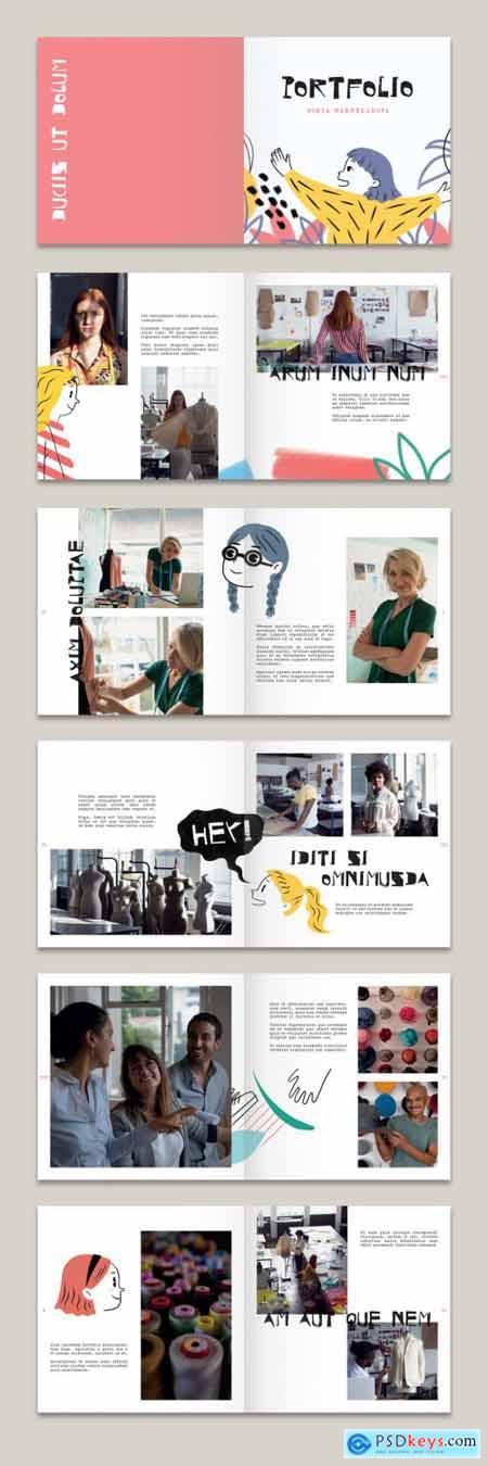Portfolio Layout with Illustrations 342073990