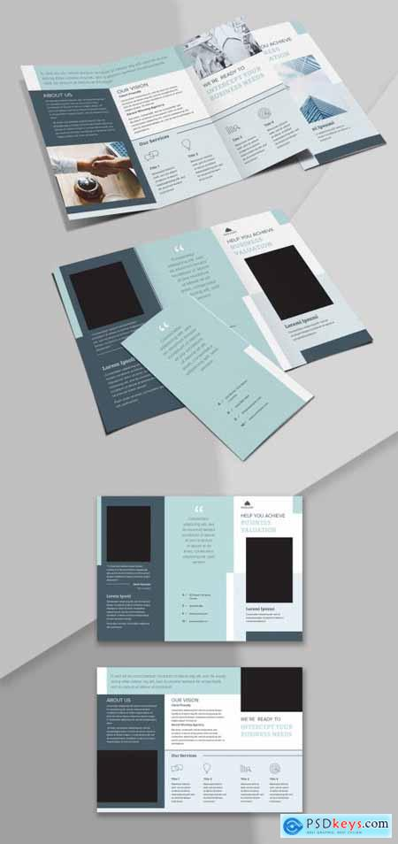 Trifold Brochure Layout with Blue Accents 342128415