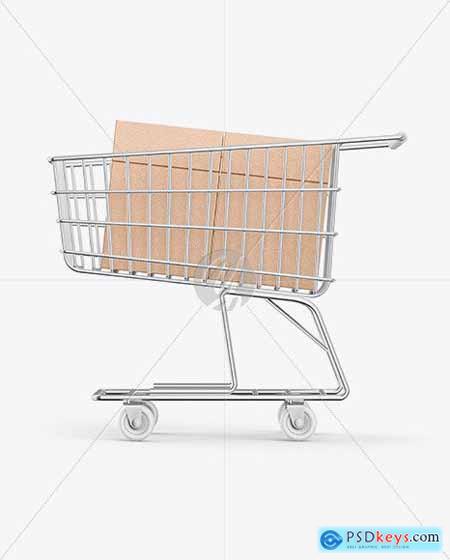 Shopping Cart W- Kraft Boxes Mockup 58917