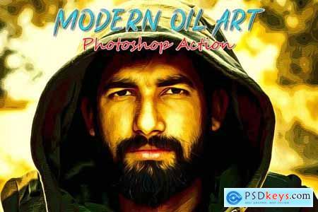 Modern Oil Art Photoshop Action 4818028