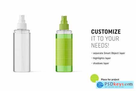 Transparent cosmetic bottle mockup 4825858