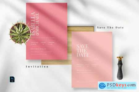 Modern Pink Invitation Set AE