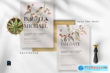 Vintage Floral Invitation Set EZ