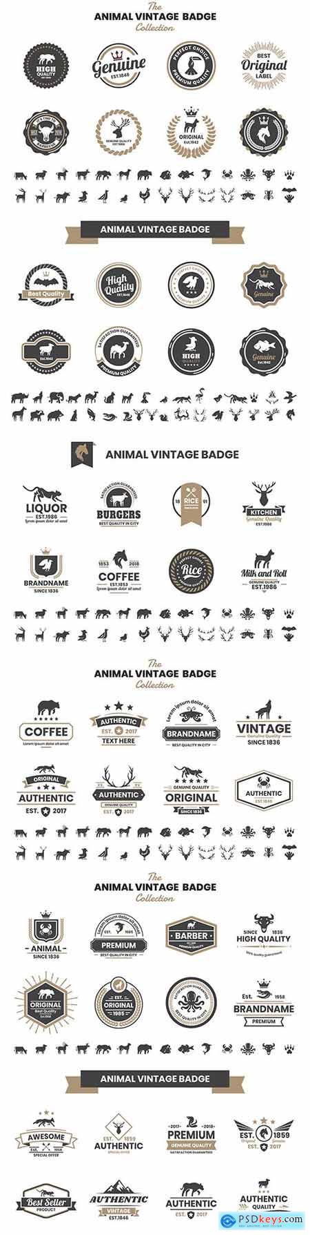 Animal vintage design badges and emblems