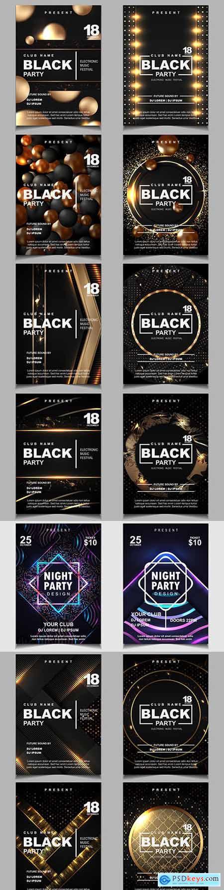 Black and gold nightclub flyer design poster