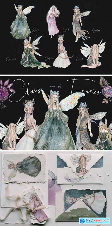 Elves and fairies - watercolor hand-drawn set