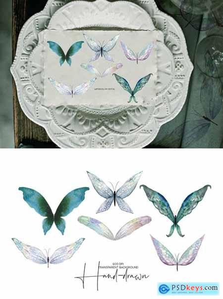 Watercolor tender butterflies and moths