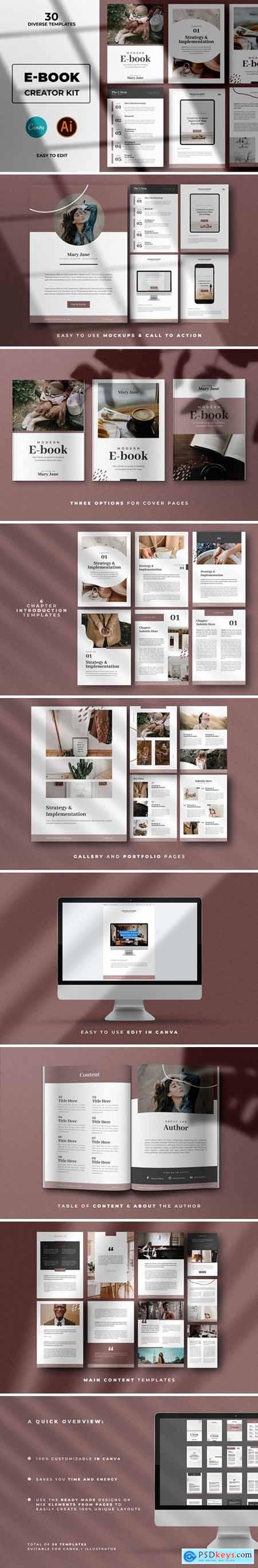 Modern Abstract Ebook Templates For Canva