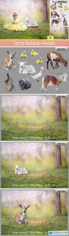 Spring Backdrop + Animals 3957767