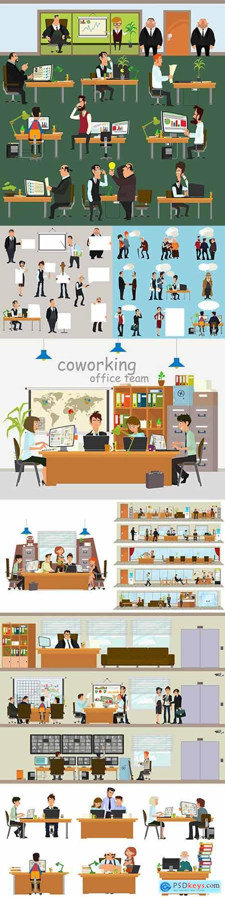 Business people working in office each in their workplace