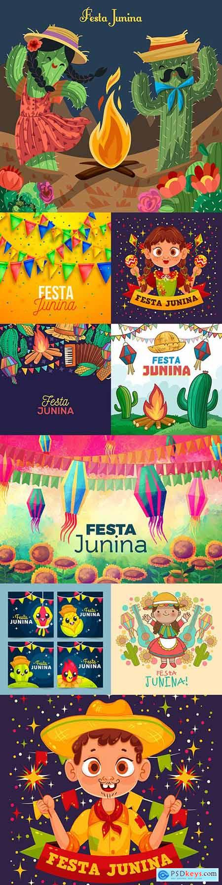 Festa Junina celebration drawn illustrations backgrounds