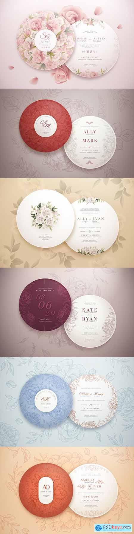 Elegant round template wedding invitation collection