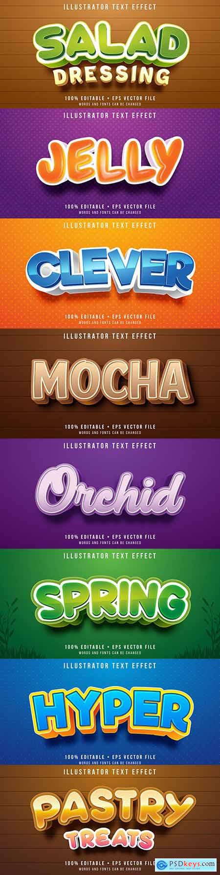 Editable font effect text collection illustration design 74