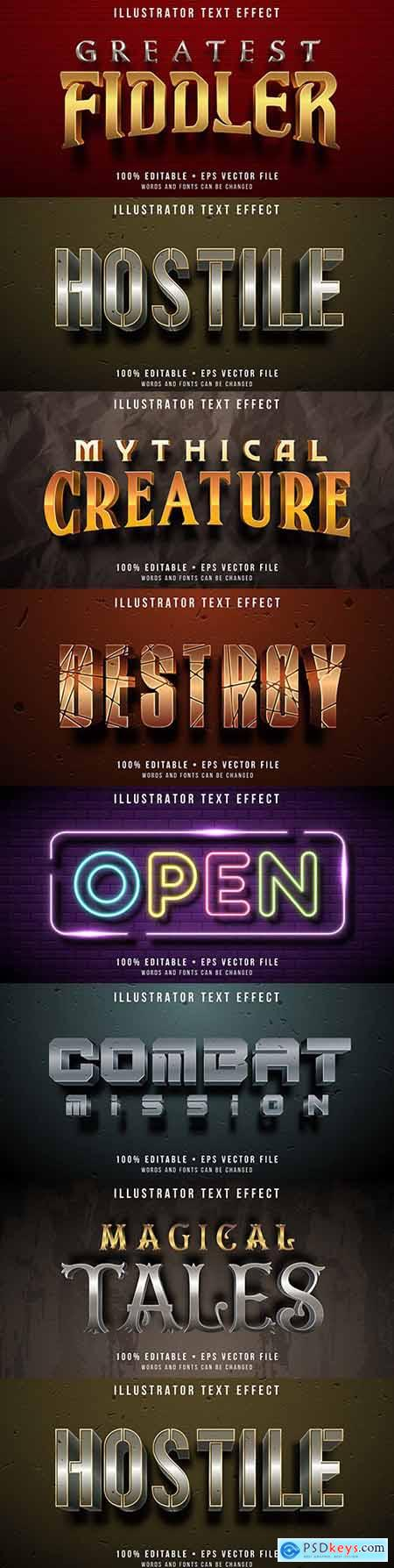 Editable font effect text collection illustration design 76