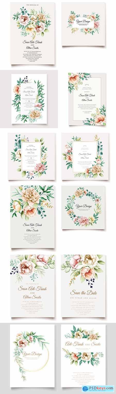 Elegant pion template wedding invitation design