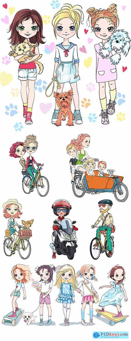 Girl babies and people on a bike illustration