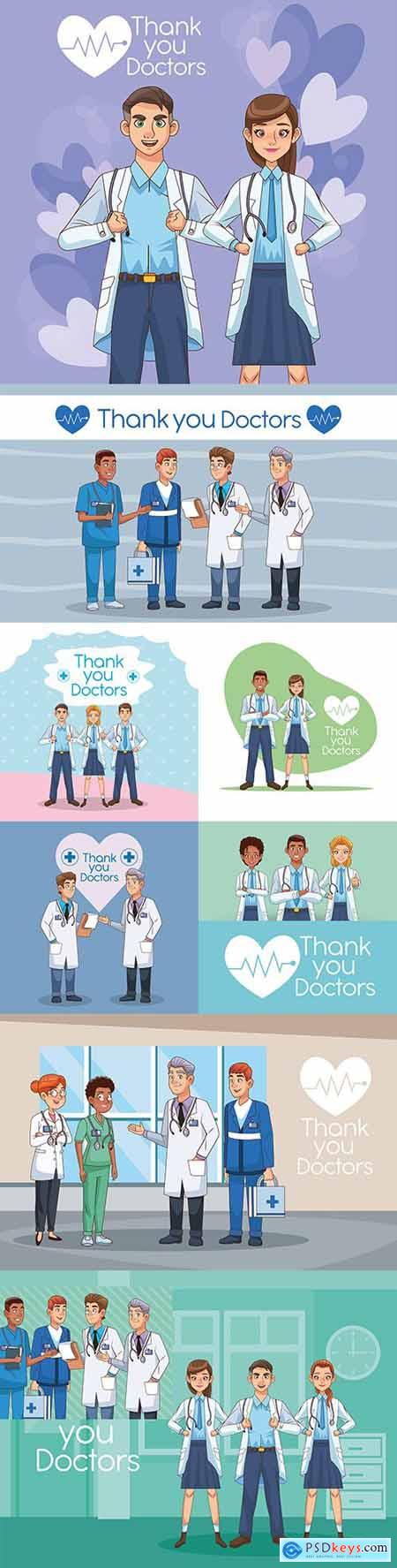 Thank you professionals doctors characters illustration
