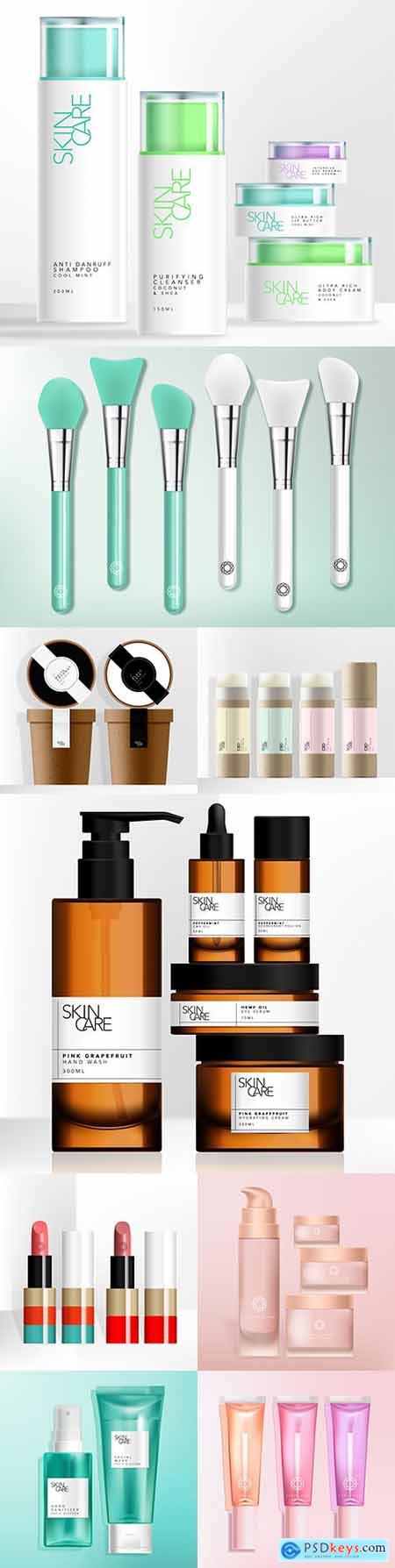Silicone brush and plastic cans skin and cosmetics care