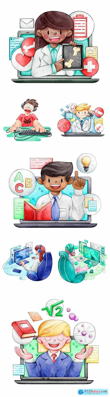 Online courses, video games and internet doctor drawing illustrations