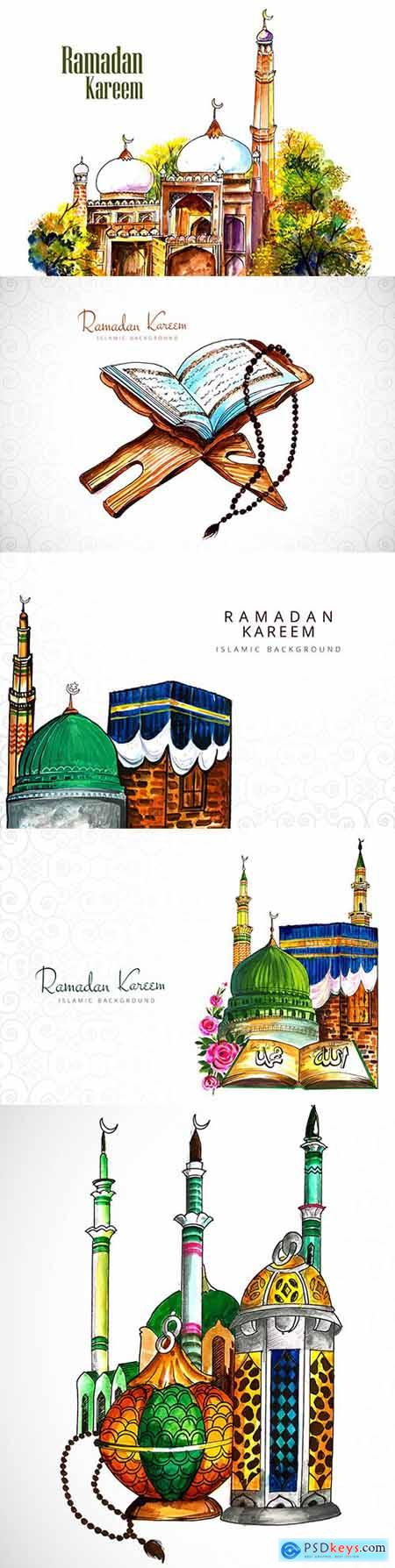 Ramadan Kareem illustration design with mosque