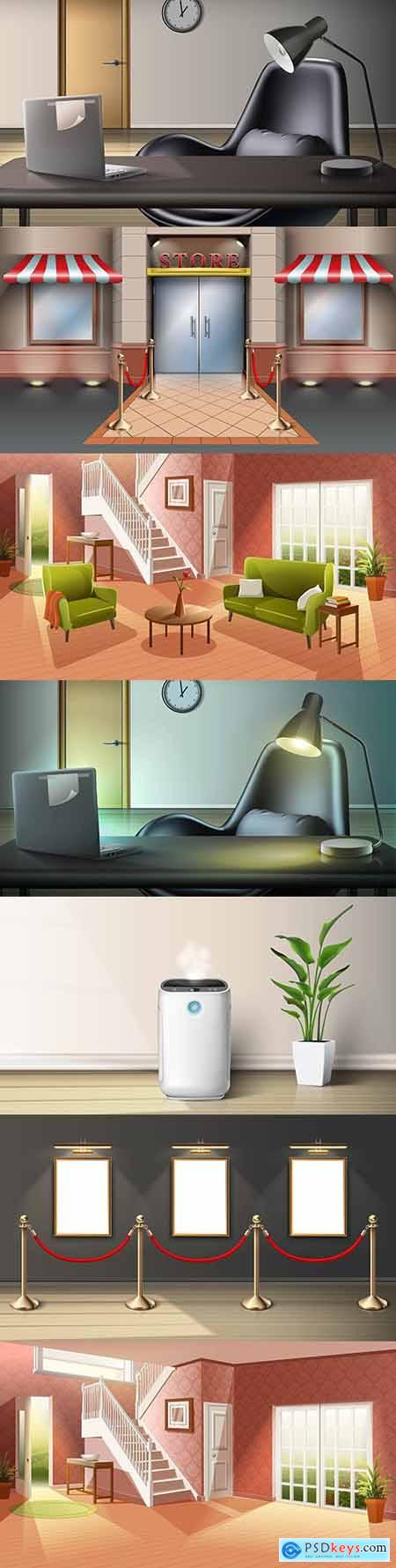 Room with interior and flowers realistic illustrations