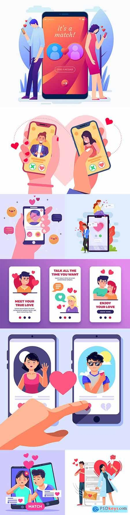 Romantic dating and dating apps flat concept illustration