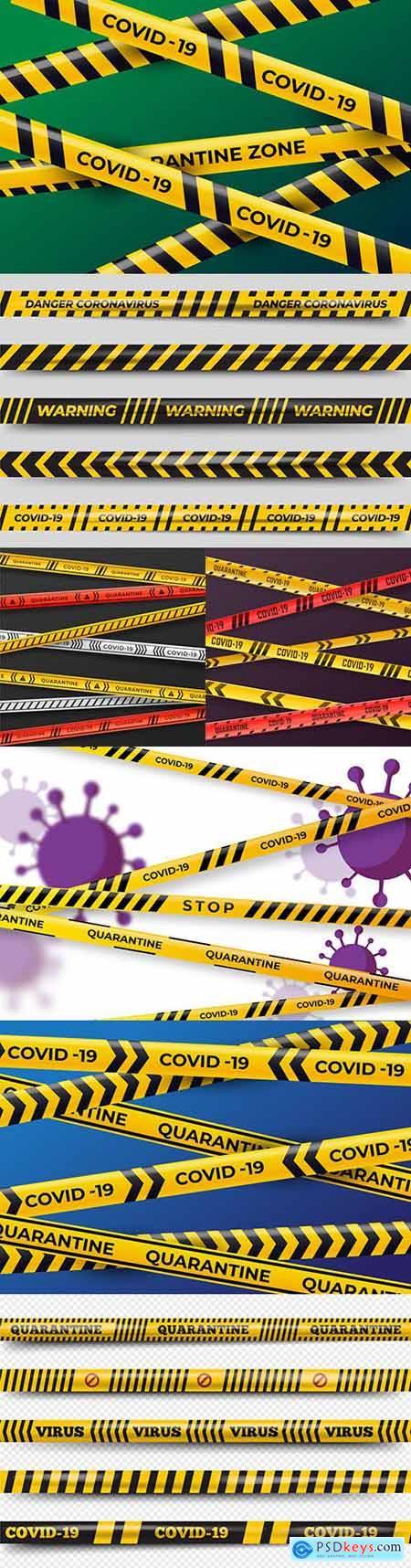 Realistic quarantine strips coronavirus covid-19 illustration