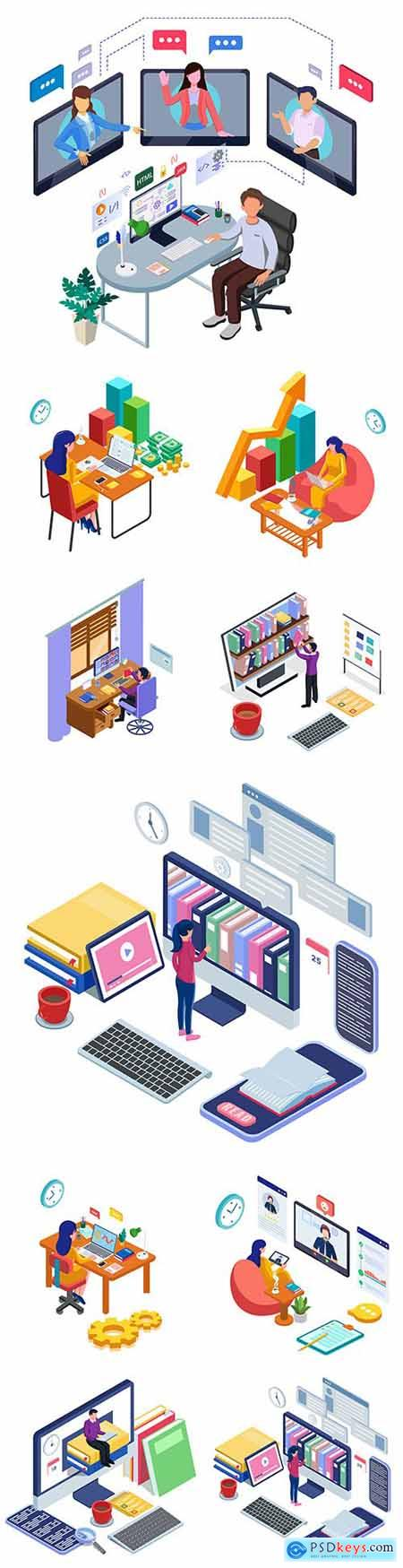 People work online and from home isometric illustrations