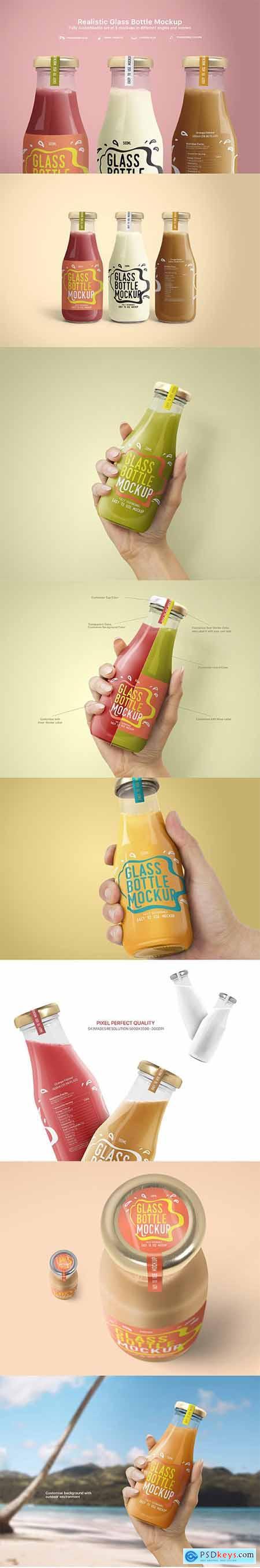 Realistic Glass Bottle Mockups