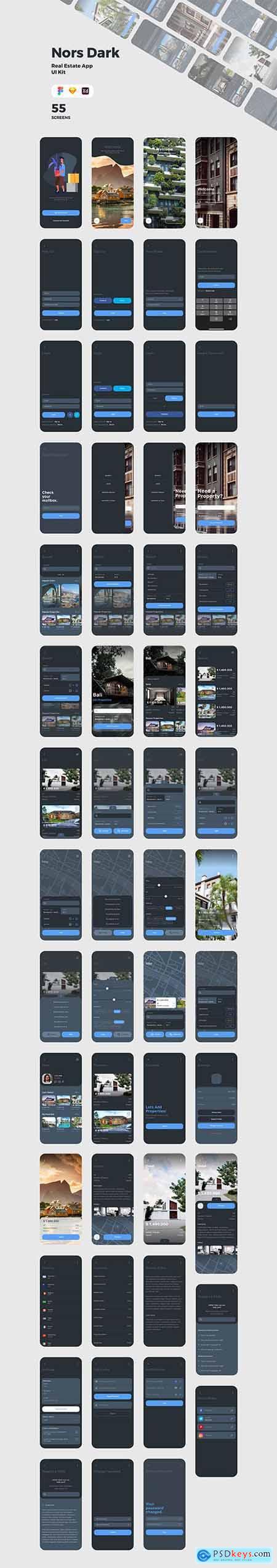 Nors Dark - Real Estate App UI Kit