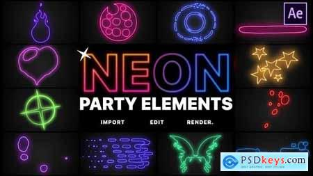 Neon Party Elements After Effects 26517821