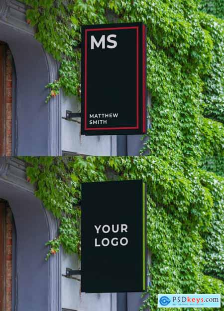 Rectangular Outdoor Mounted Entrance Sign Mockup 344301315
